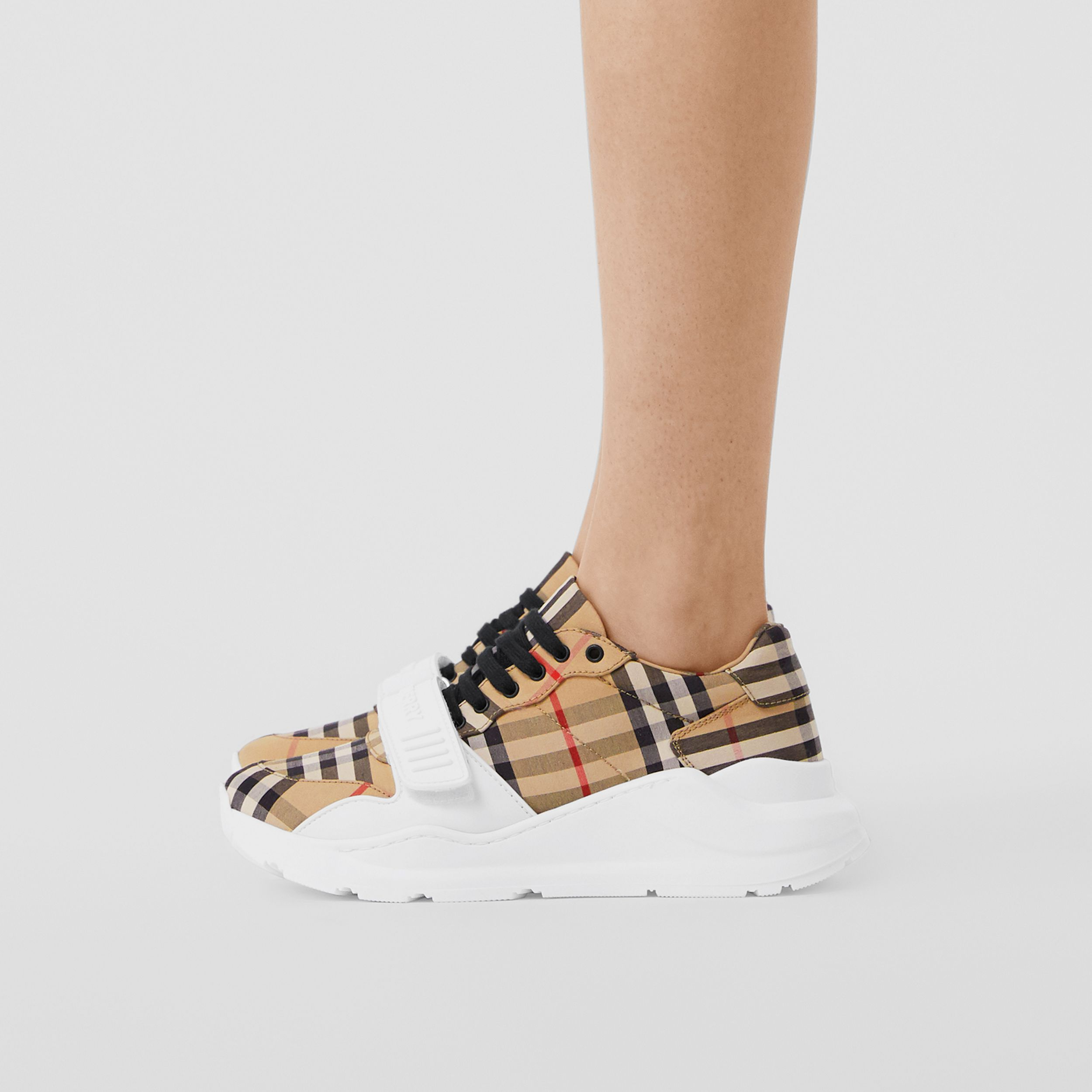 Vintage Check Cotton Sneakers in Archive Beige - Women | Burberry - 3