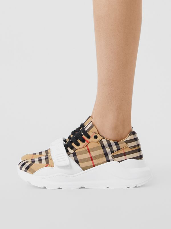 Vintage Check Cotton Sneakers in Archive Beige - Women | Burberry United Kingdom - cell image 2