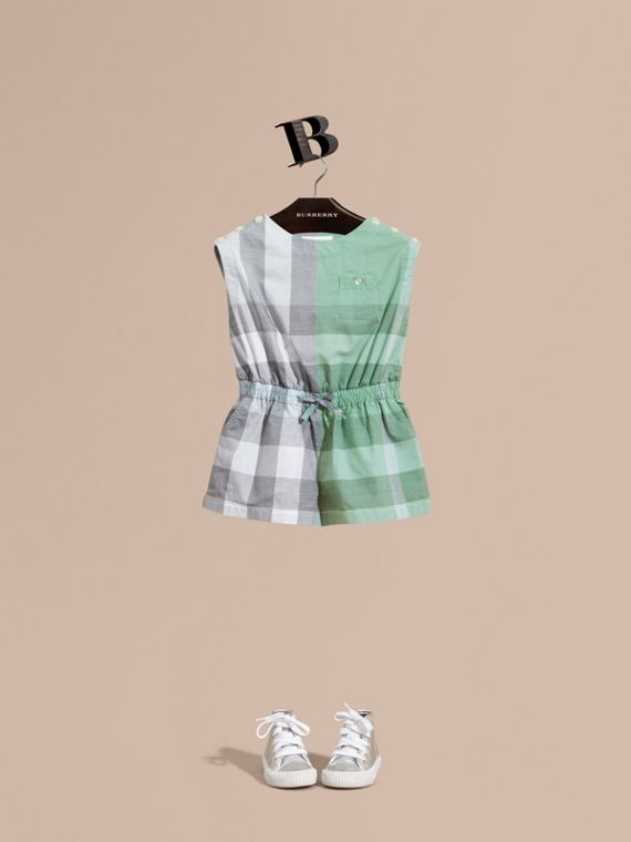 Check Cotton Playsuit in Pale Opal - Girl | Burberry