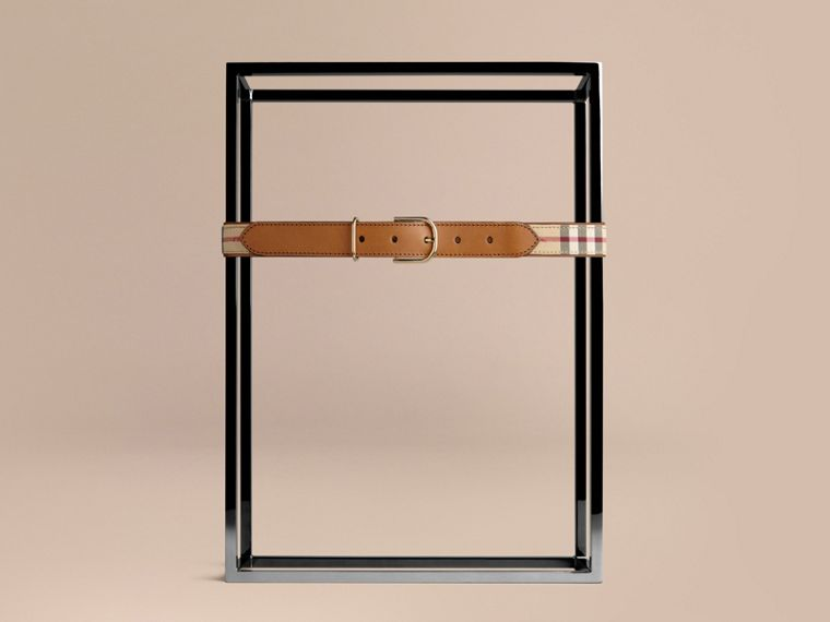 Honey/tan Horseferry Check and Leather Belt Honey/tan - cell image 1