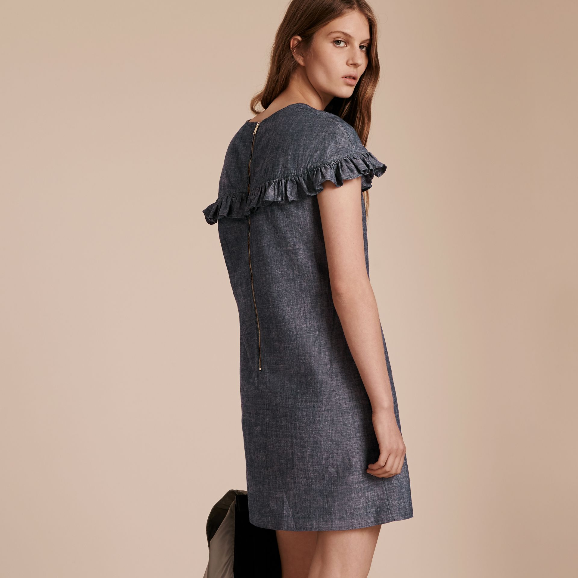 Light indigo Ruffle Trim Cotton Chambray Shift Dress - gallery image 3