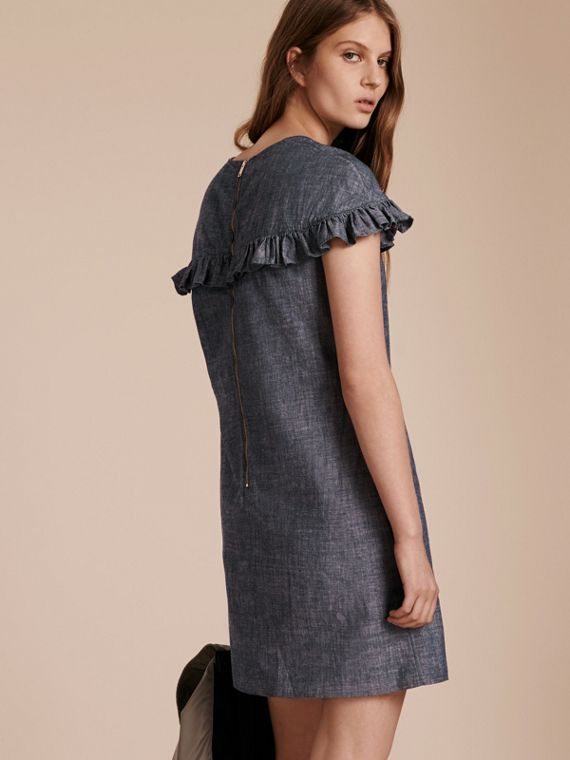 Light indigo Ruffle Trim Cotton Chambray Shift Dress - cell image 2