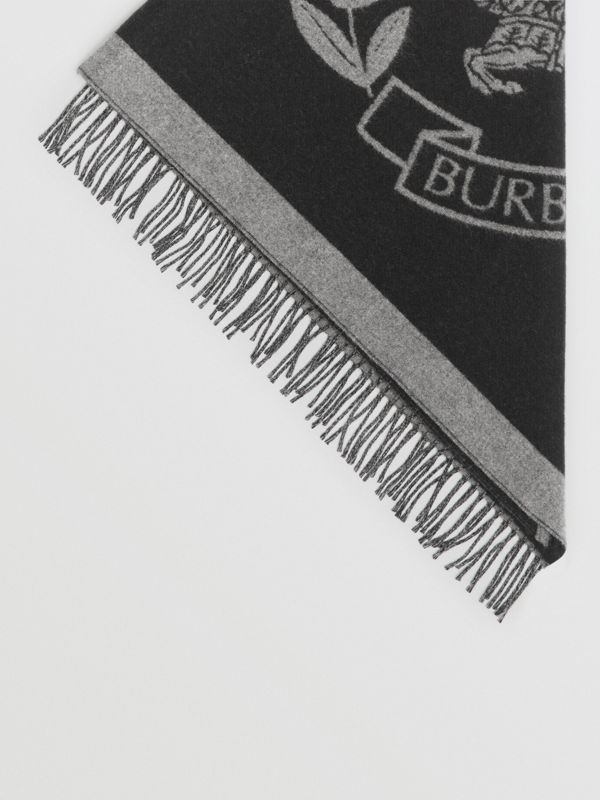 The Burberry Bandana in Crest Detail Wool Cashmere in Mid Grey | Burberry - cell image 3