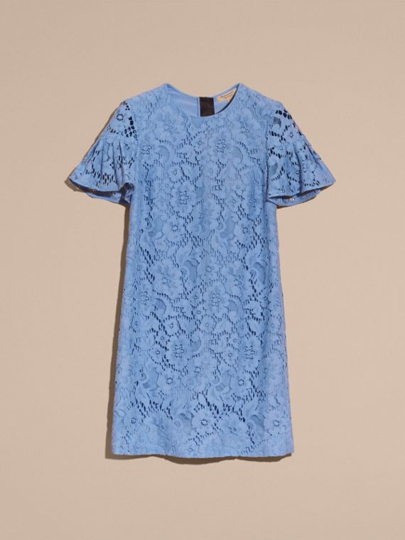 Macramé Lace Short Shift Dress with Ruffle Sleeves - cell image 3