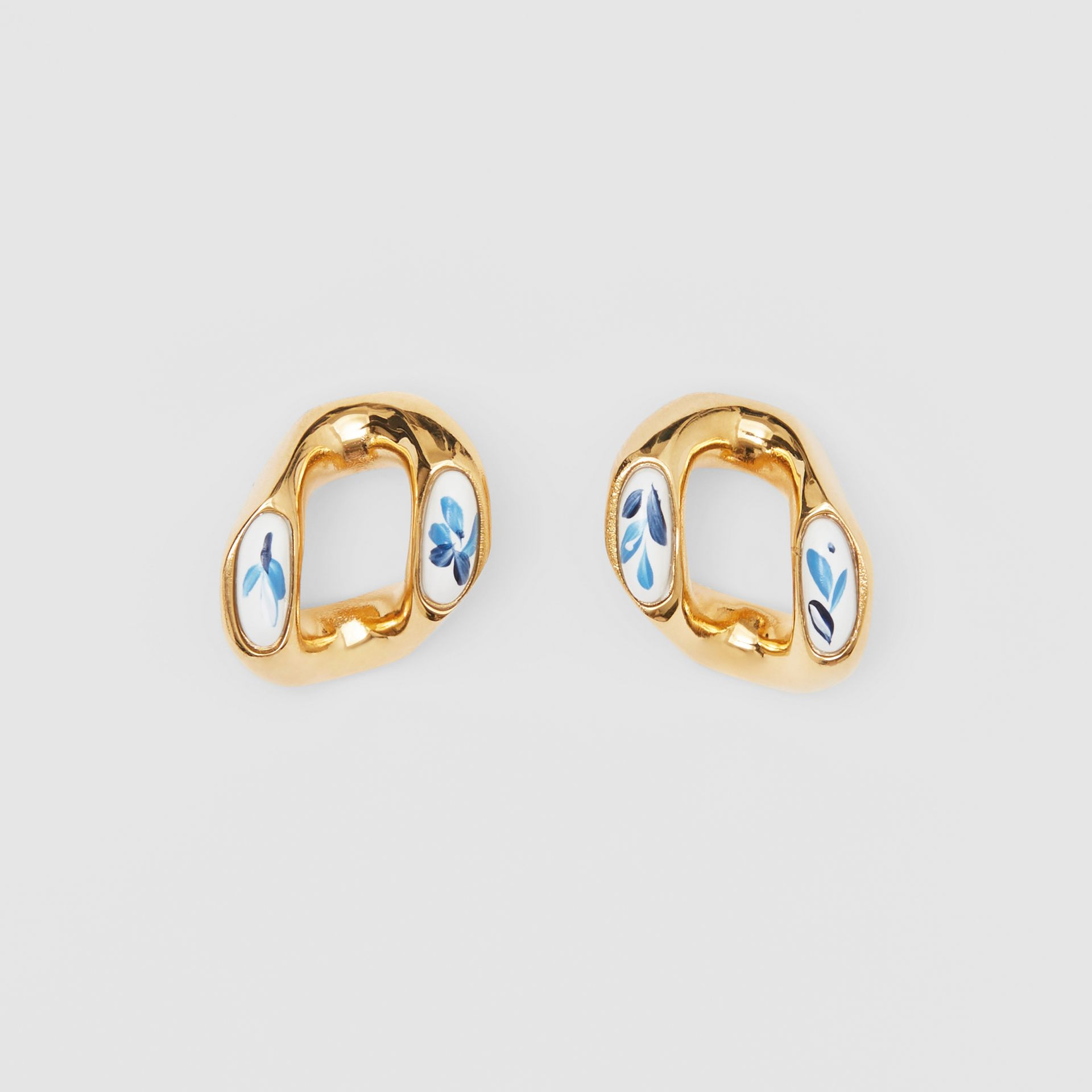 Porcelain Detail Gold-plated Chain-link Earrings in Light Gold/white/blue - Women | Burberry - gallery image 0