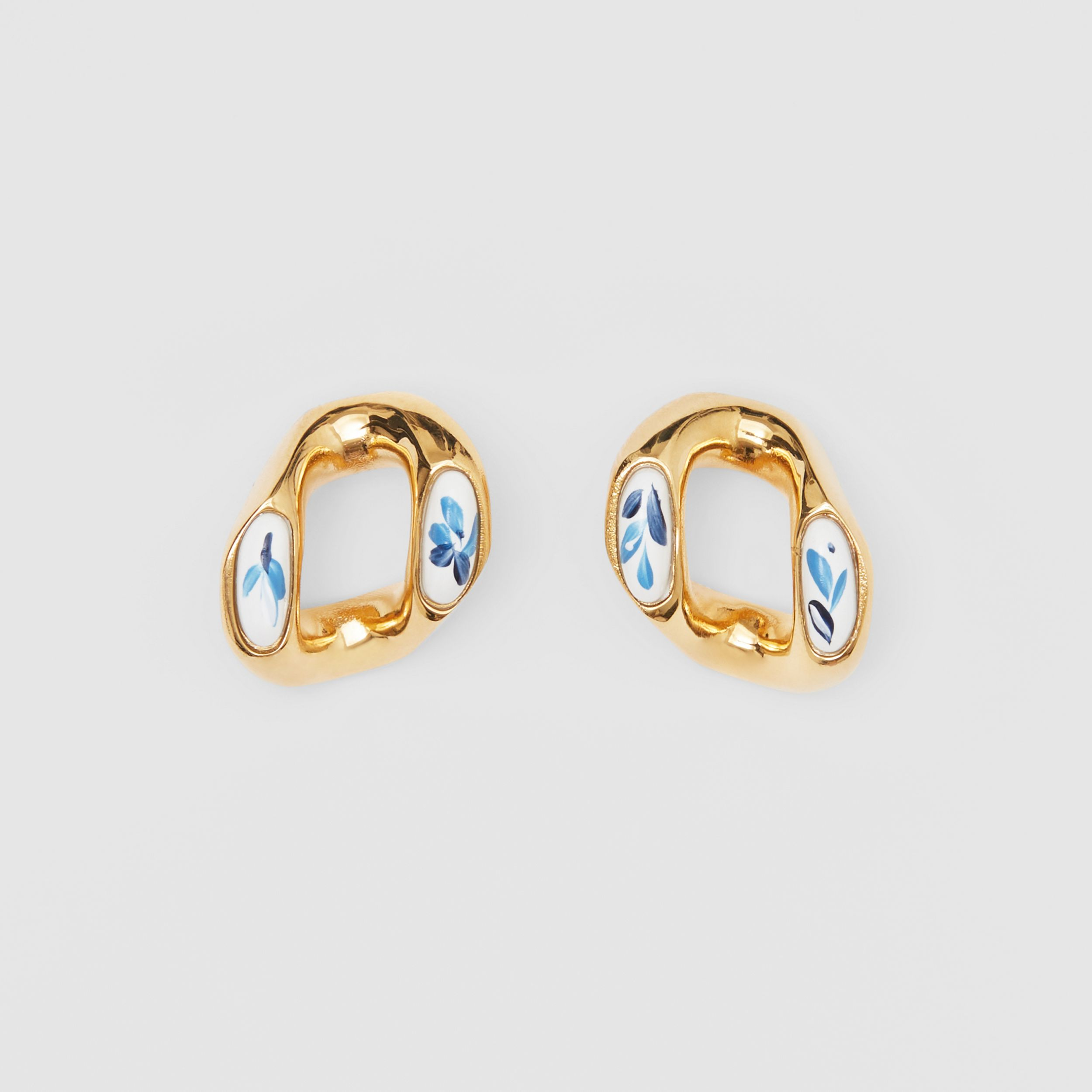 Enamel Detail Gold-plated Chain-link Earrings in Light Gold/white/blue | Burberry Singapore - 1