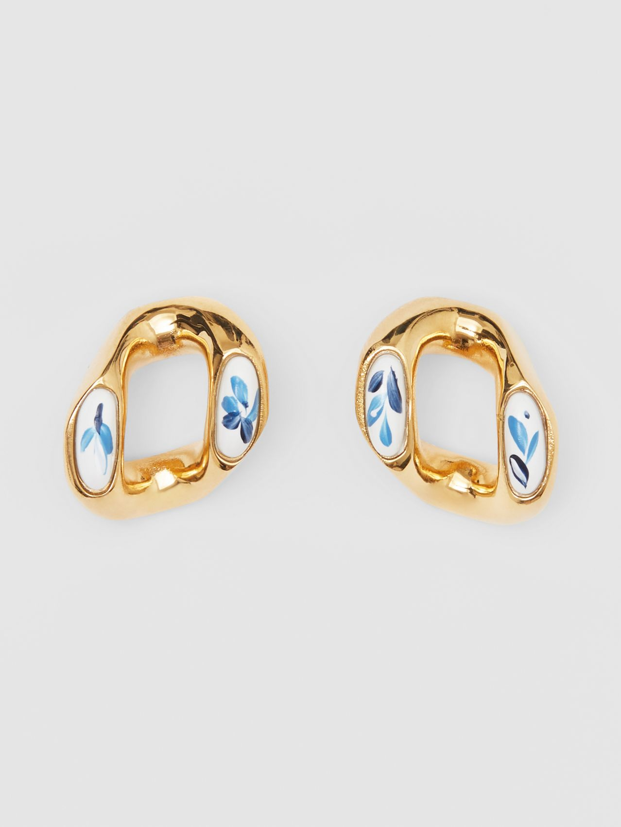 Porcelain Detail Gold-plated Chain-link Earrings in Light Gold/white/blue