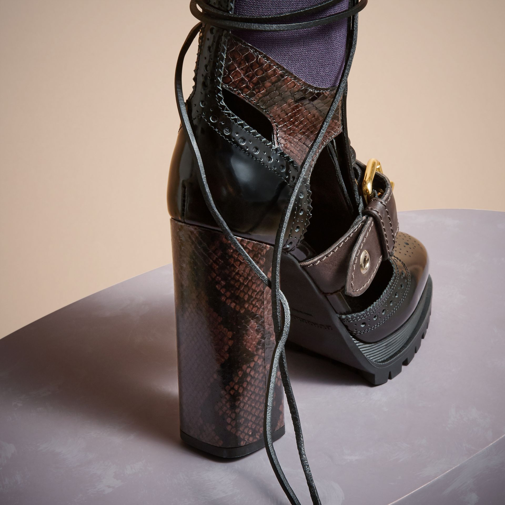 Leather and Snakeskin Cut-out Platform Boots Dark Chocolate - gallery image 4