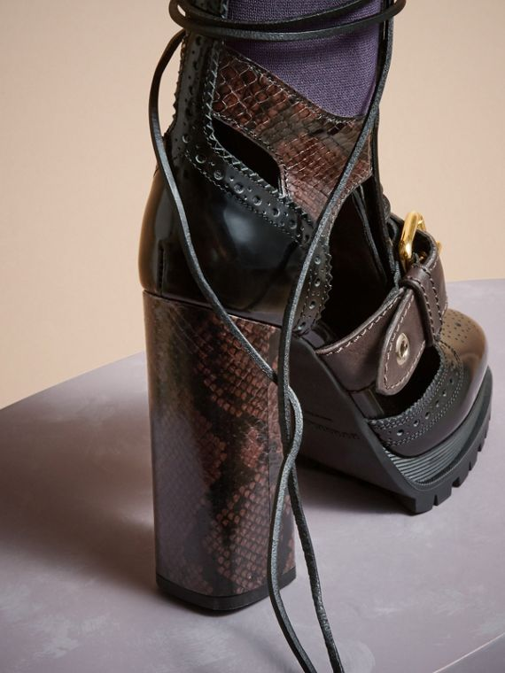 Leather and Snakeskin Cut-out Platform Boots Dark Chocolate - cell image 3