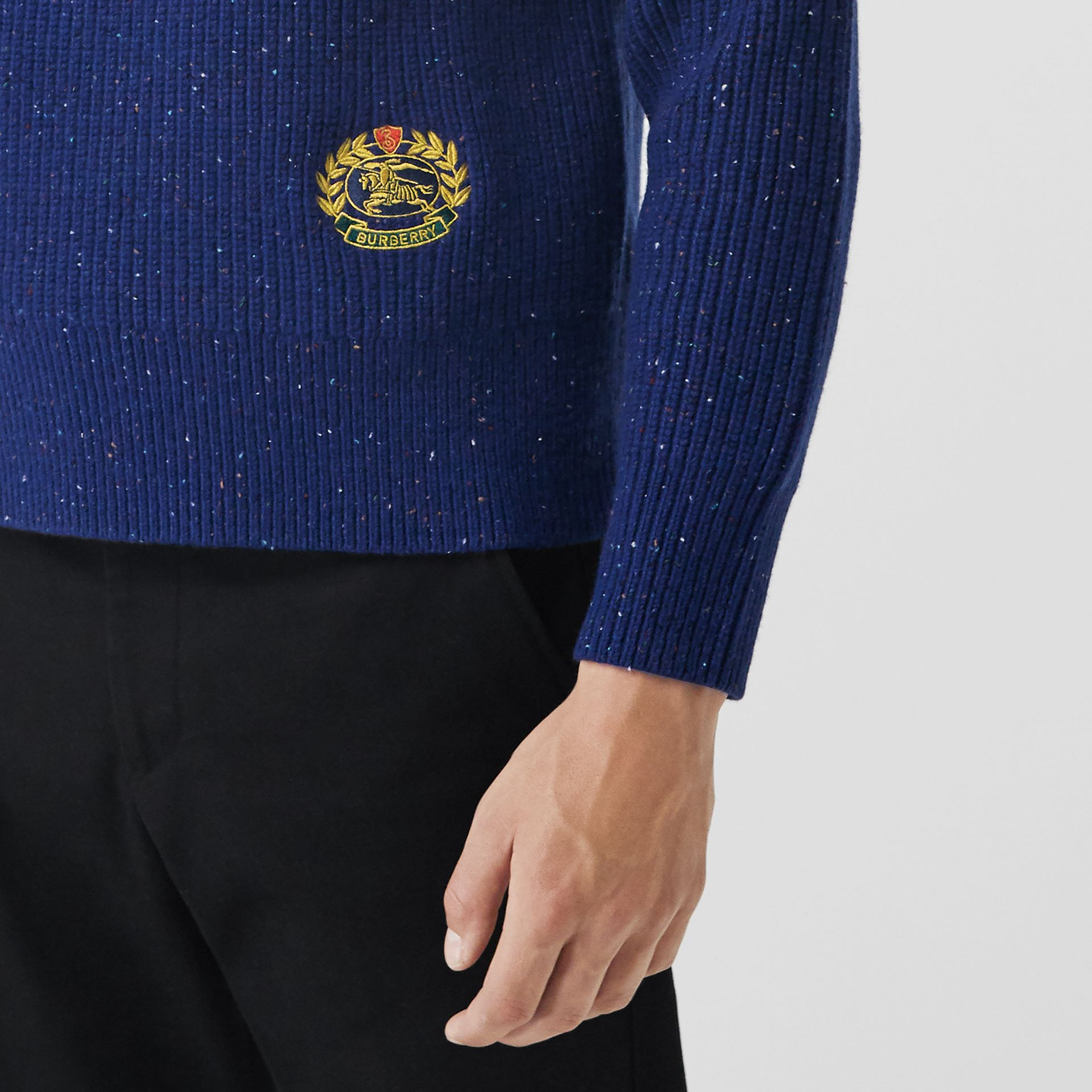 Rib Knit Wool Cashmere Blend Half-zip Sweater in Navy - Men | Burberry - gallery image 1