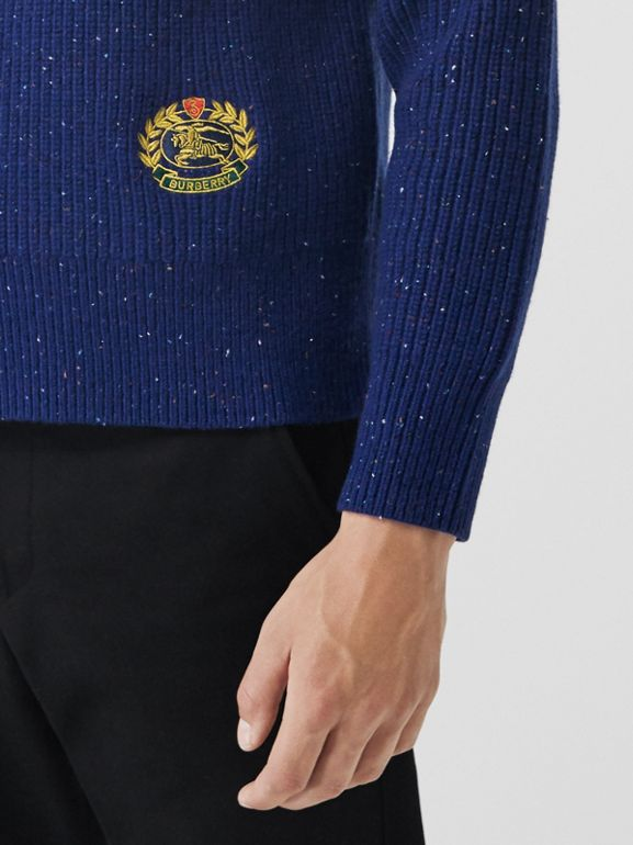 Rib Knit Wool Cashmere Blend Half-zip Sweater in Navy - Men | Burberry United Kingdom - cell image 1