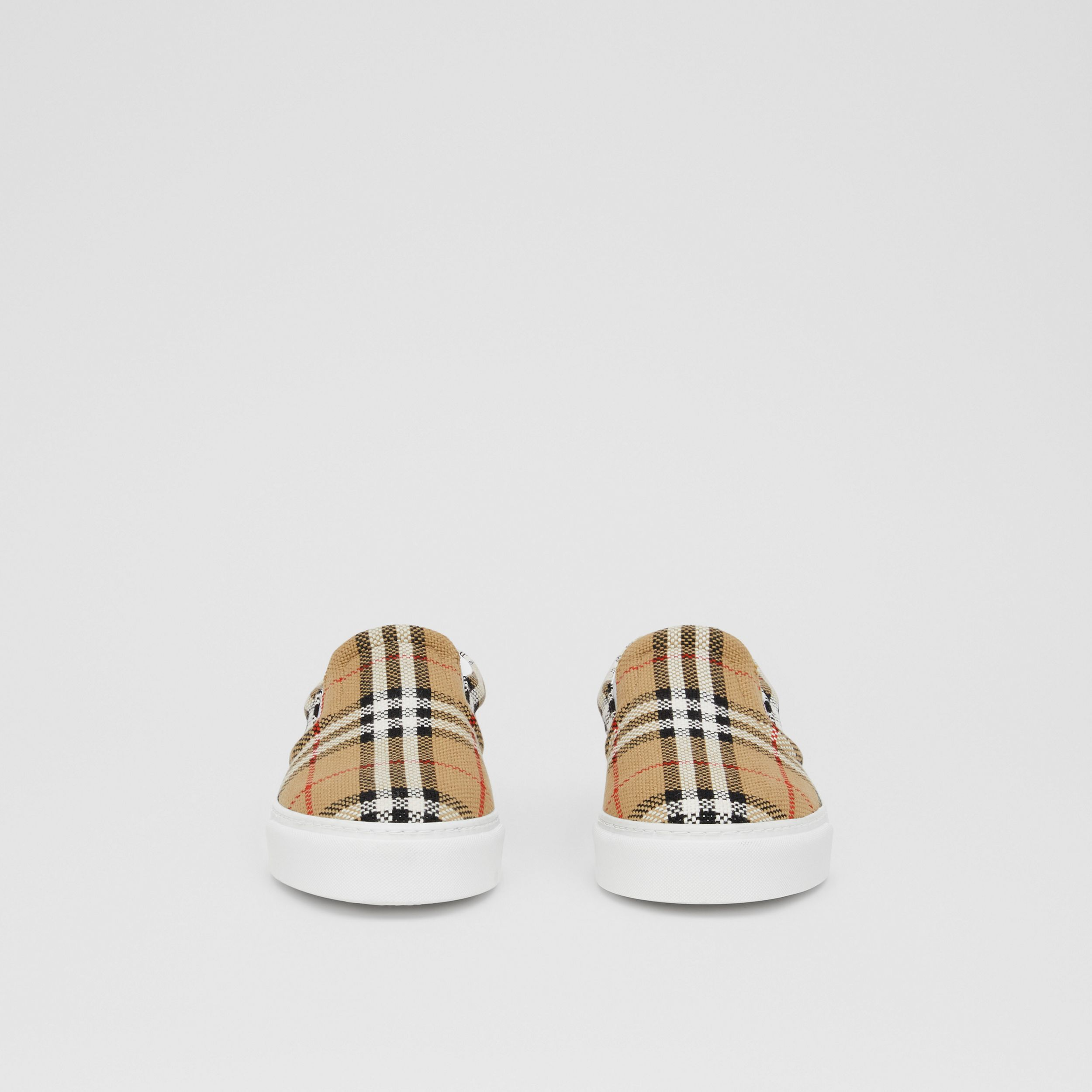 Bio-based Sole Latticed Cotton Slip-on Sneakers in Archive Beige - Women | Burberry - 4