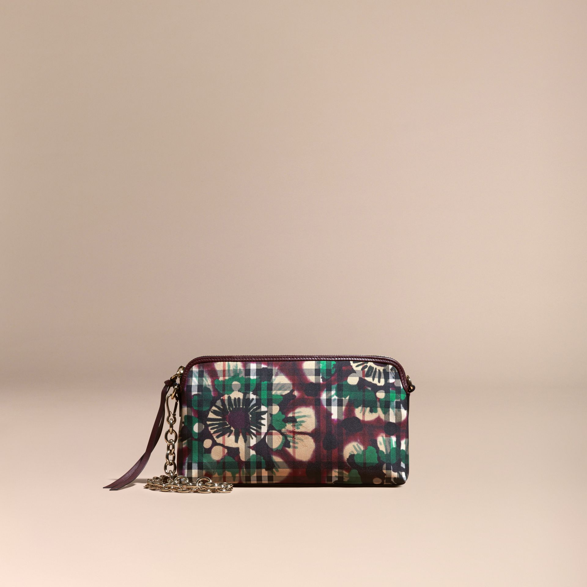 Deep claret Tie-dye Print Horseferry Check and Leather Clutch Bag Deep Claret - gallery image 8