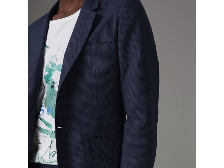 Slim Fit Gingham Cotton Jacket in Navy - Men | Burberry - cell image 1