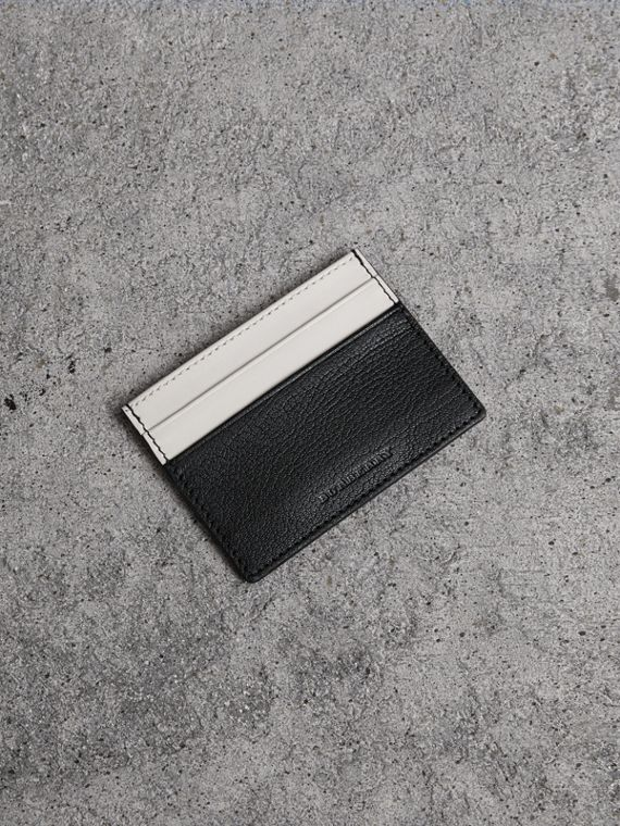 Two-tone Leather Card Case in Black