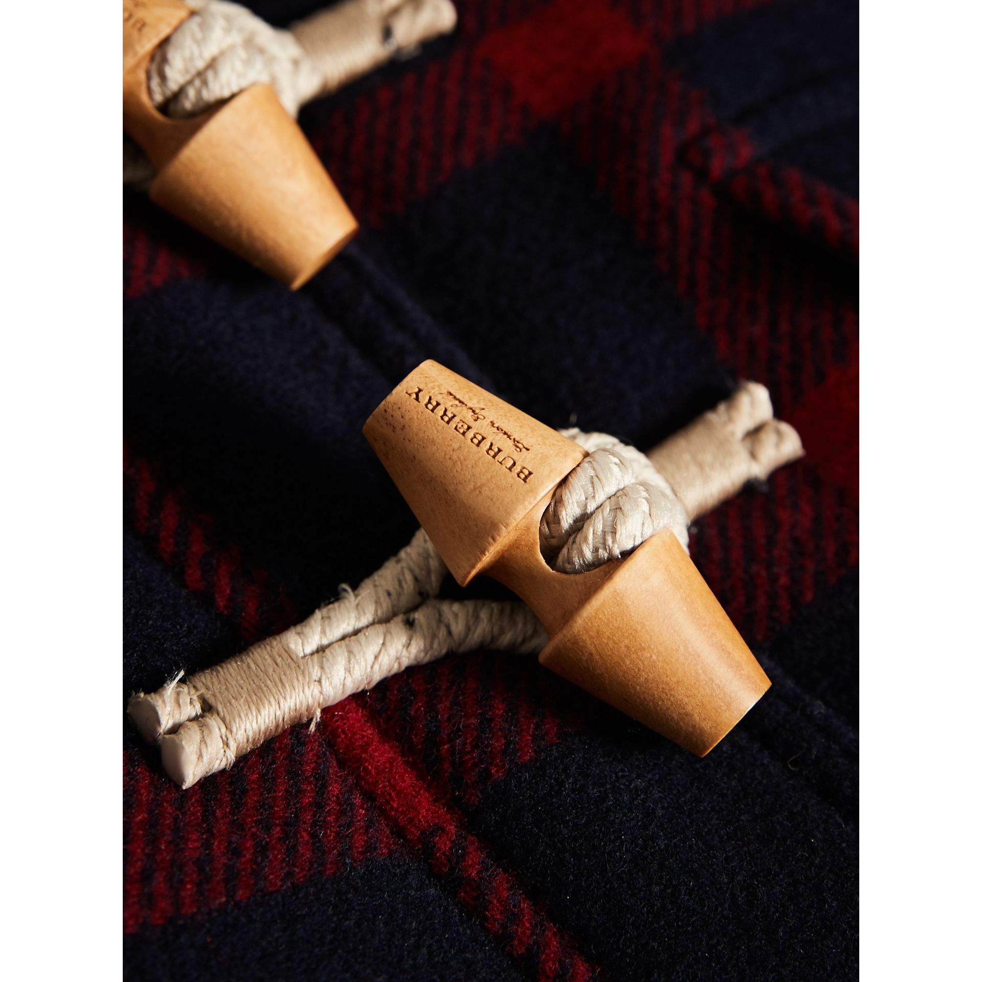 Exploded Tartan Double-faced Wool Duffle Coat in Navy/black | Burberry - gallery image 2
