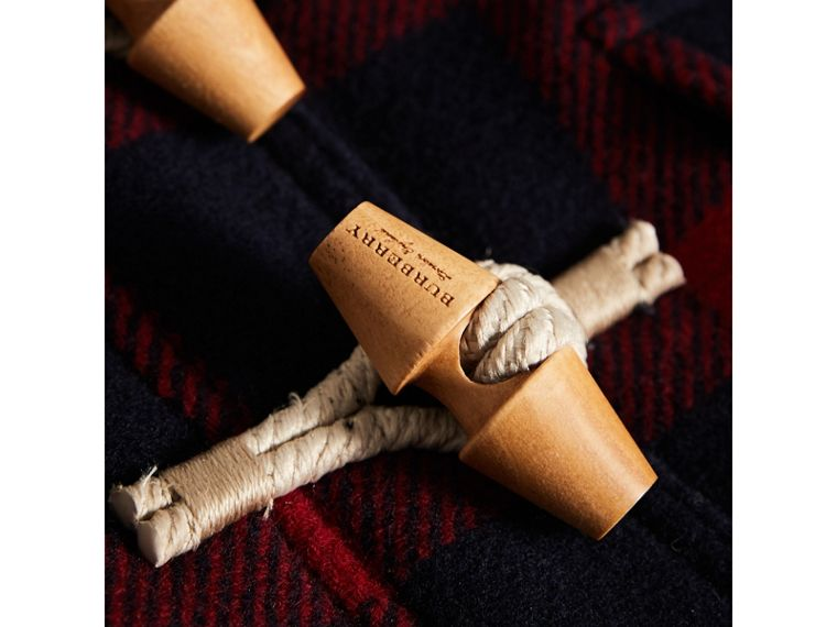 Exploded Tartan Double-faced Wool Duffle Coat in Navy/black | Burberry - cell image 1