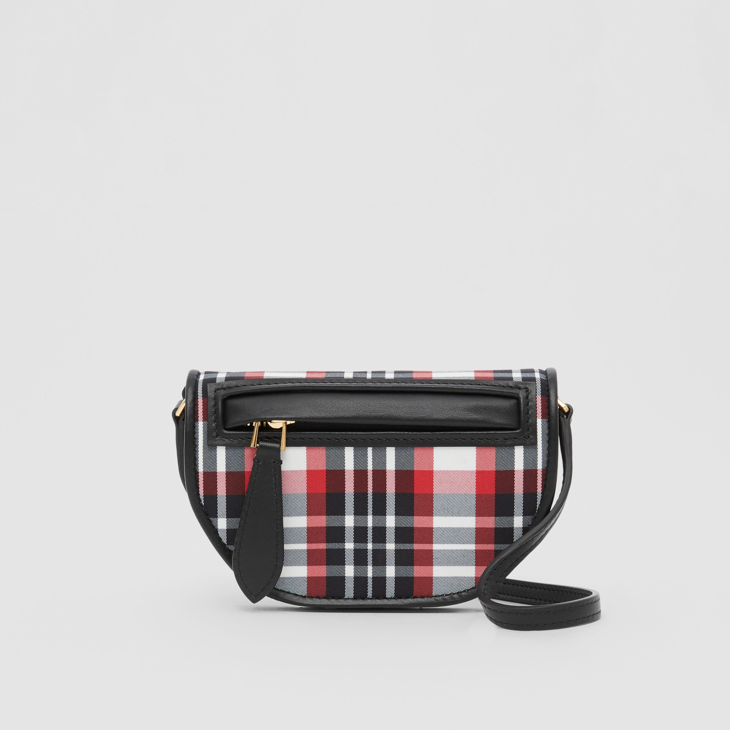 Tartan Nylon Olympia Card Case with Detachable Strap in Bright Red | Burberry United States - 1