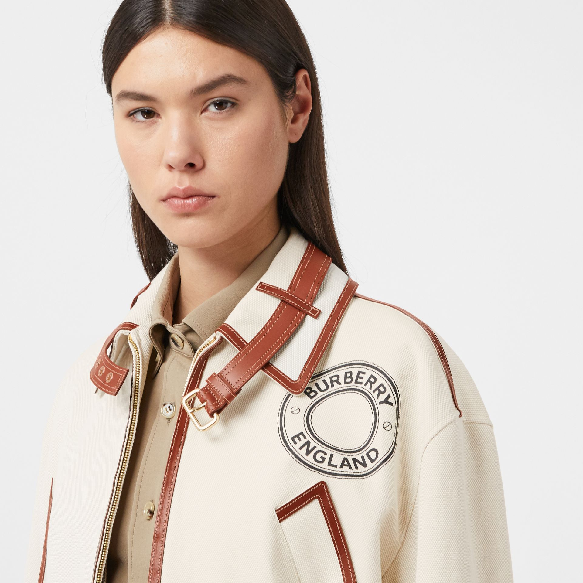 Logo Graphic Cotton and Lambskin Riding Jacket in Vanilla - Women | Burberry - gallery image 7