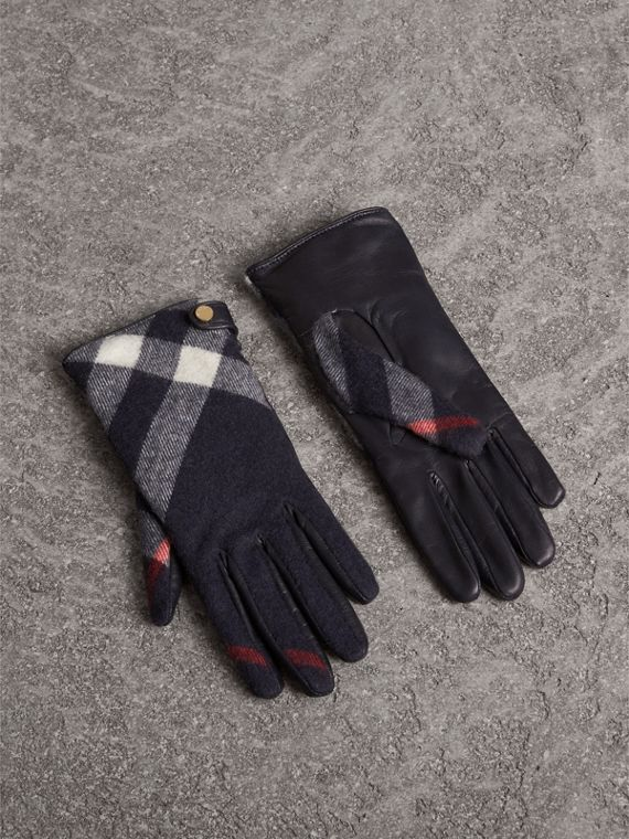 Leather and Check Cashmere Gloves in Navy