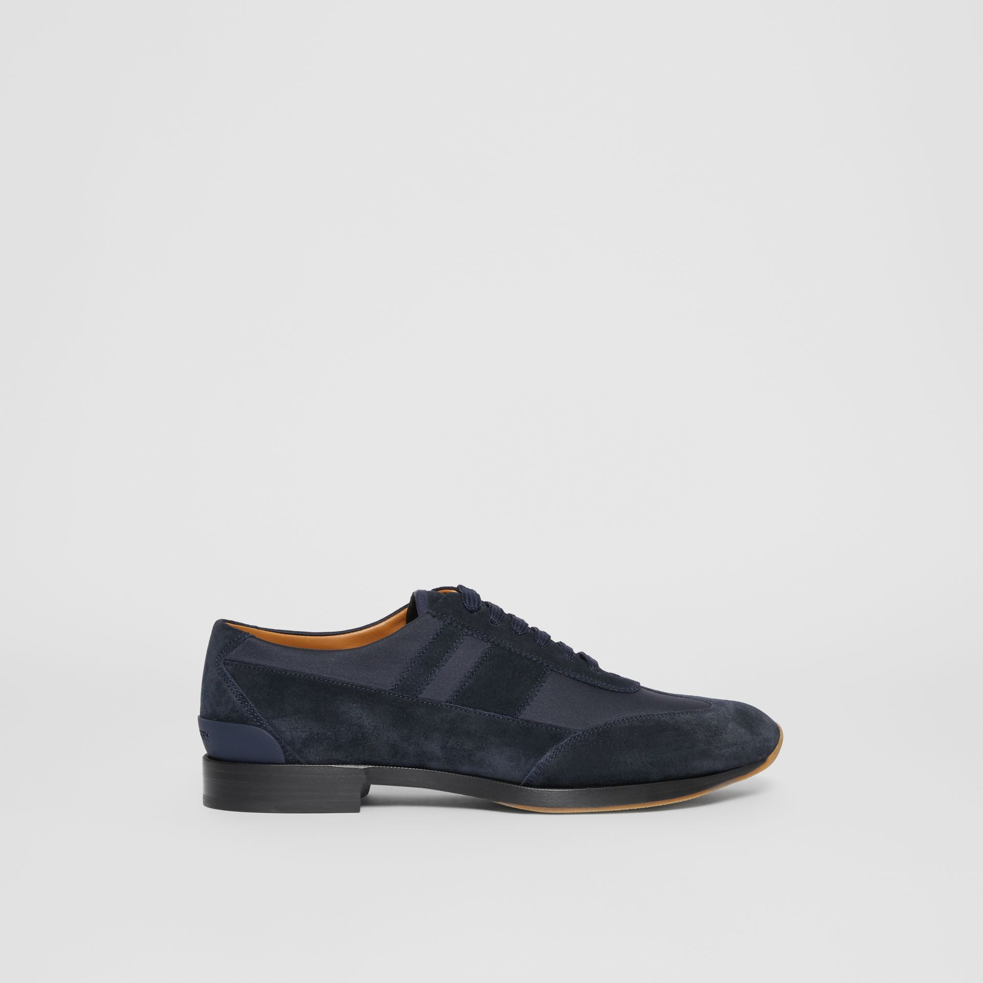 Neoprene Panel Suede Lace-up Shoes in Navy - Men | Burberry United Kingdom - gallery image 4