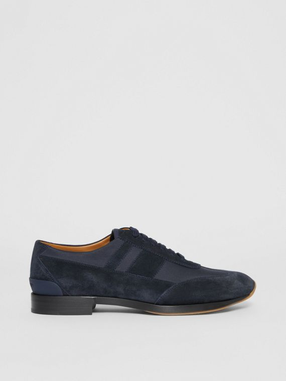 Neoprene Panel Suede Lace-up Shoes in Navy