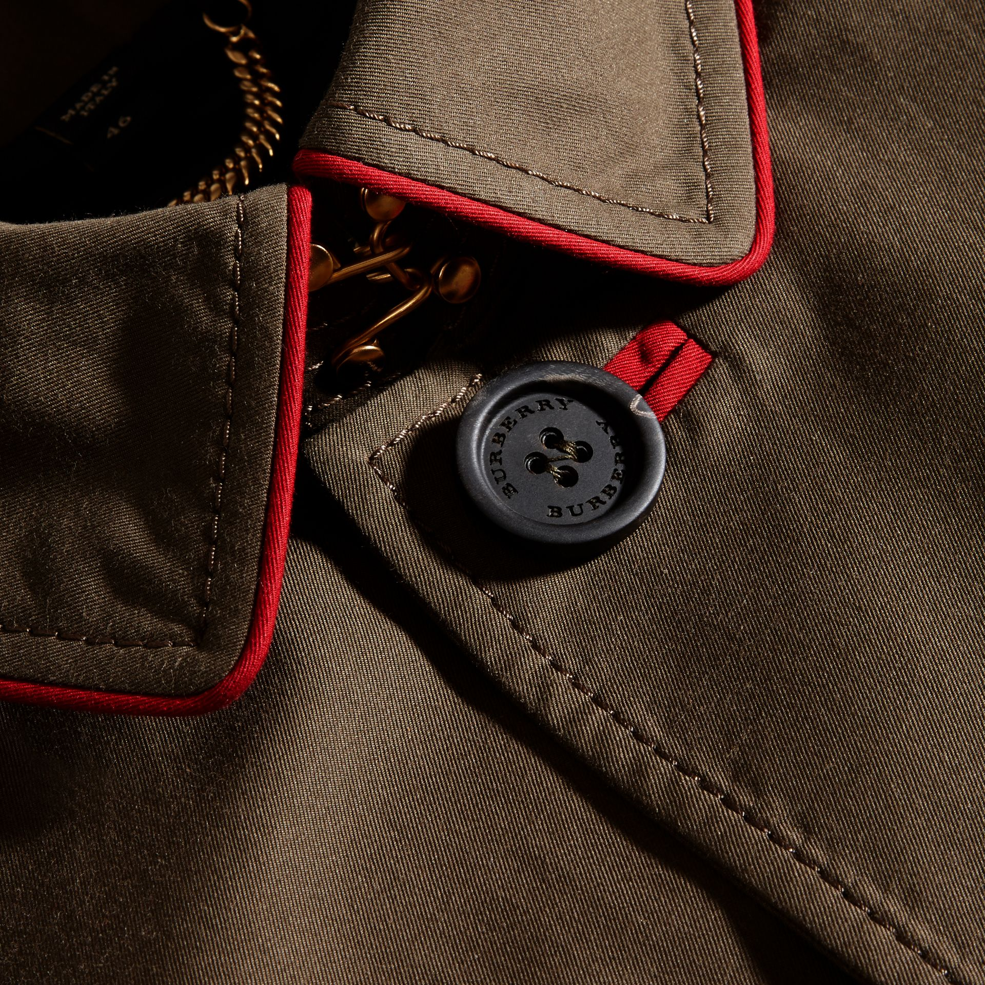 Dark khaki green Military Detail Cotton Trench Coat - gallery image 2