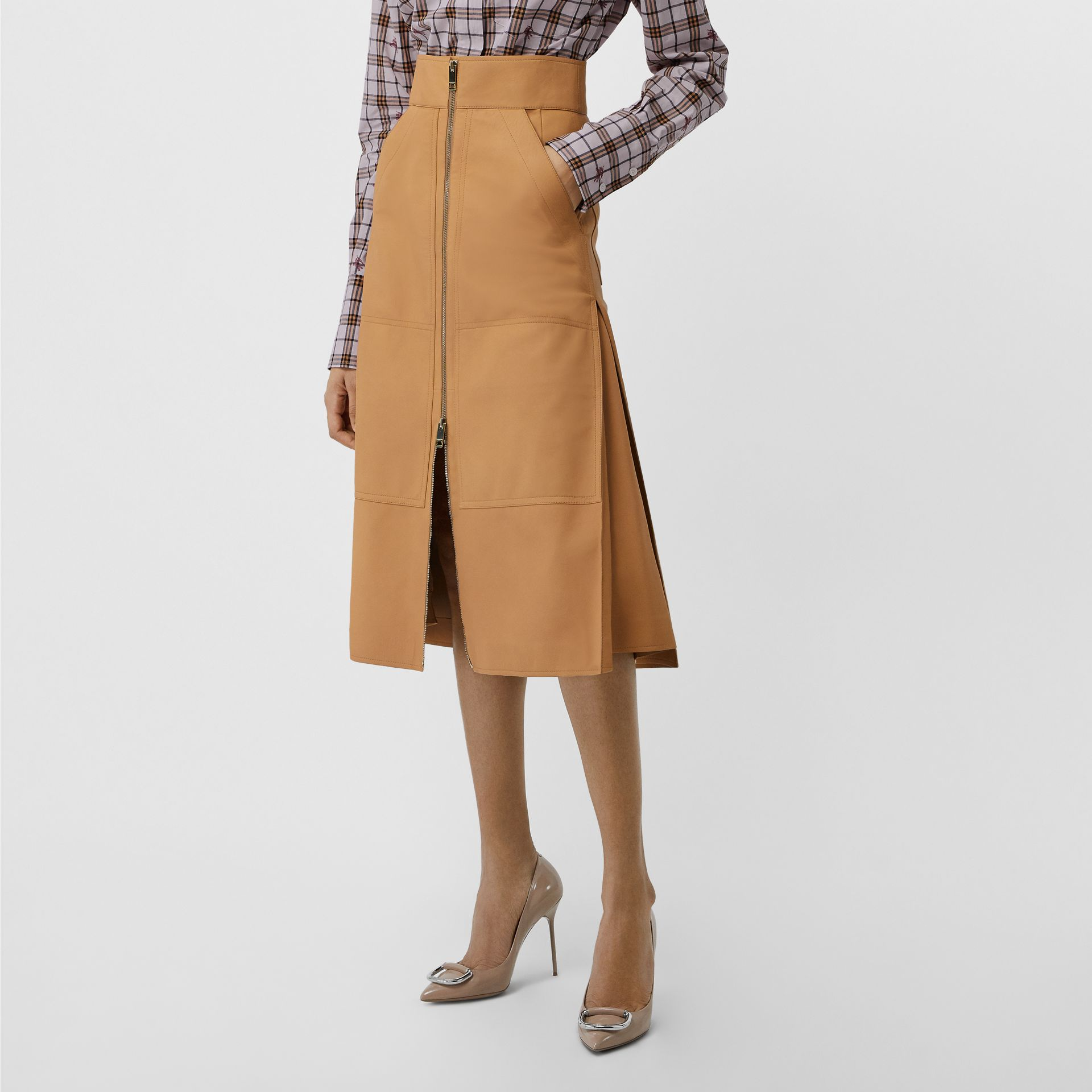 Lambskin High-waisted Skirt in Caramel - Women | Burberry - gallery image 5