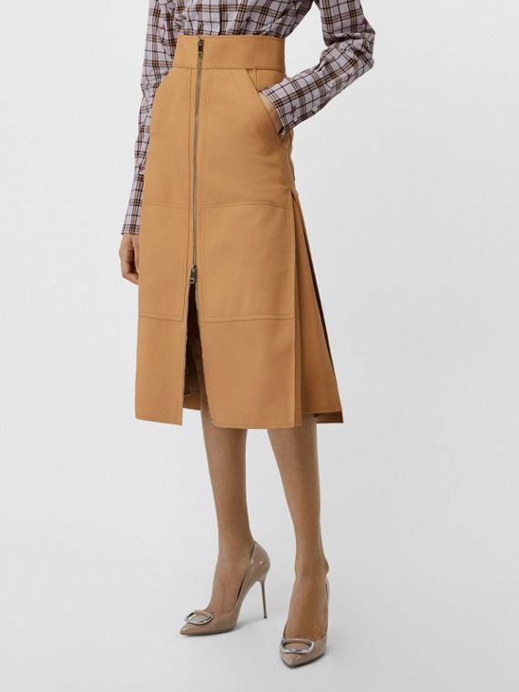 Lambskin High-waisted Skirt in Caramel