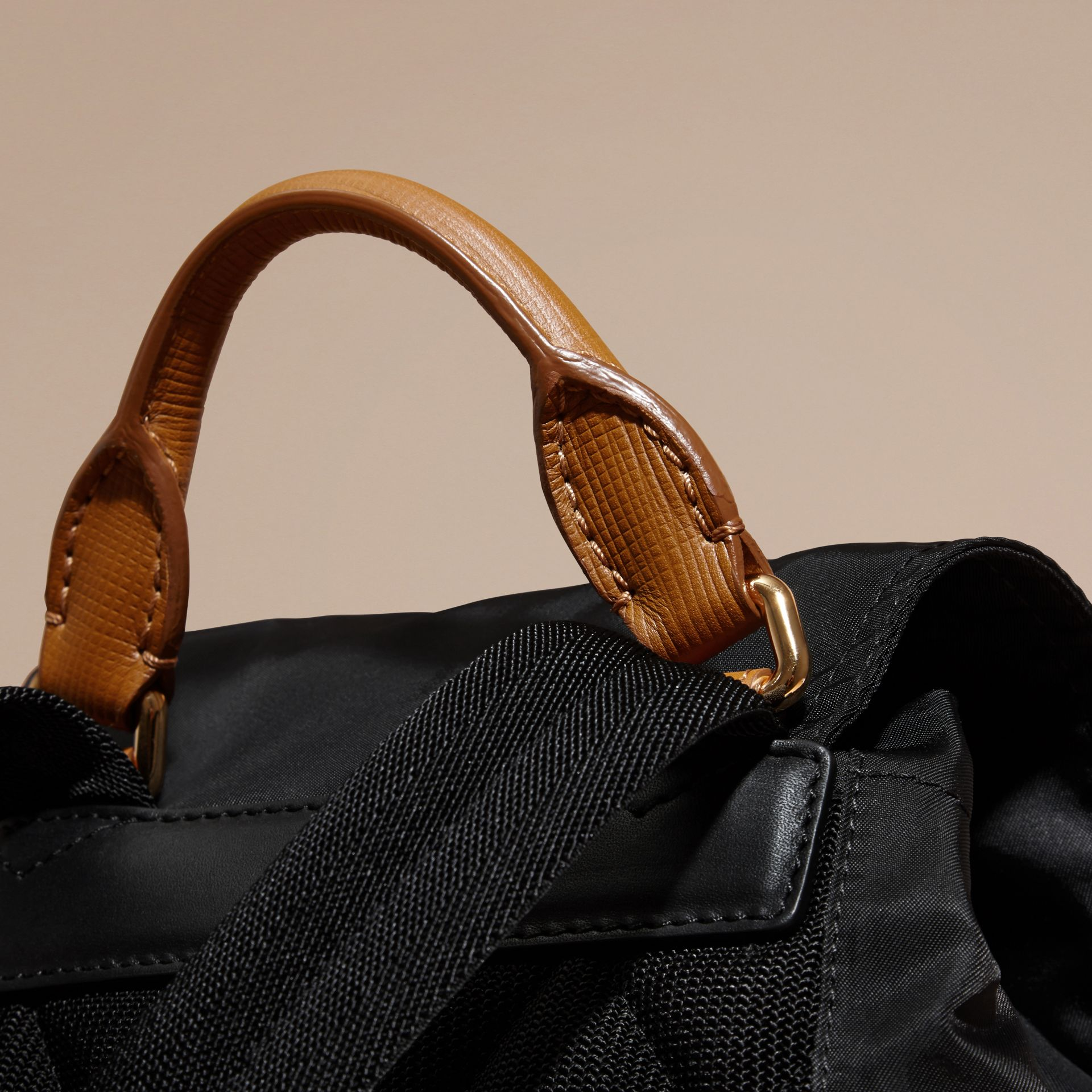 The Medium Rucksack in Technical Nylon and Leather Black - gallery image 5