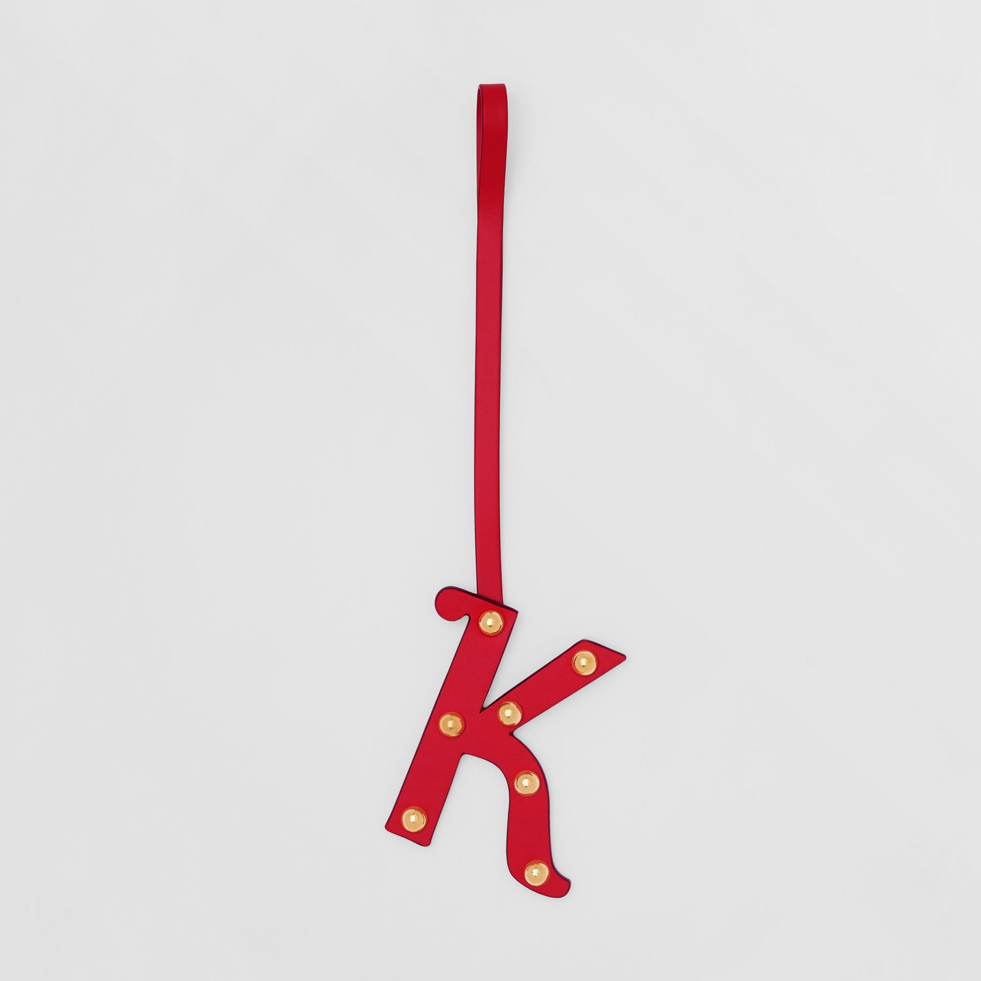 'K' Studded Leather Alphabet Charm in Red/light Gold - Women | Burberry - gallery image 0