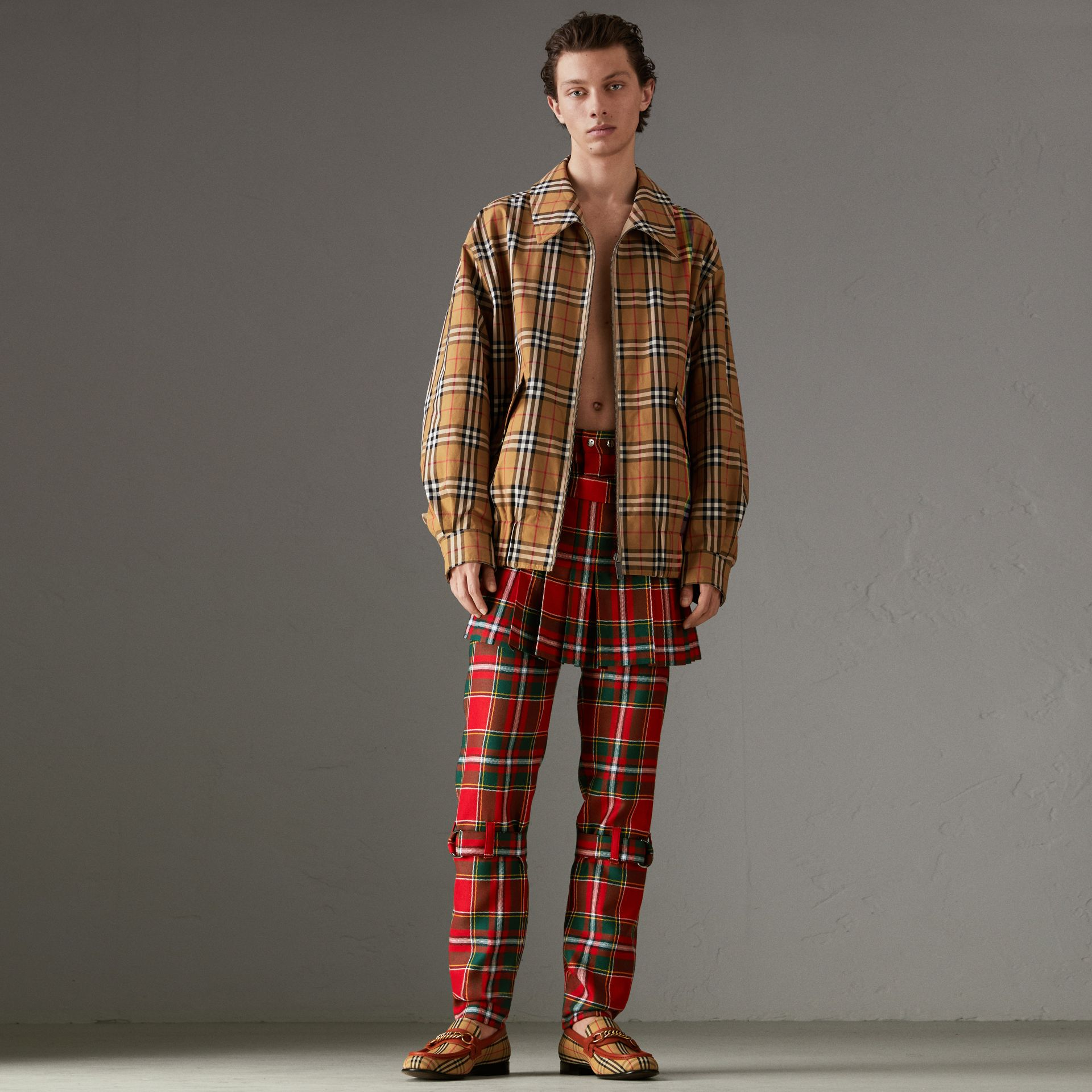 Modern Stewart Royal Tartan Punk Trousers in Bright Red | Burberry Australia - gallery image 0