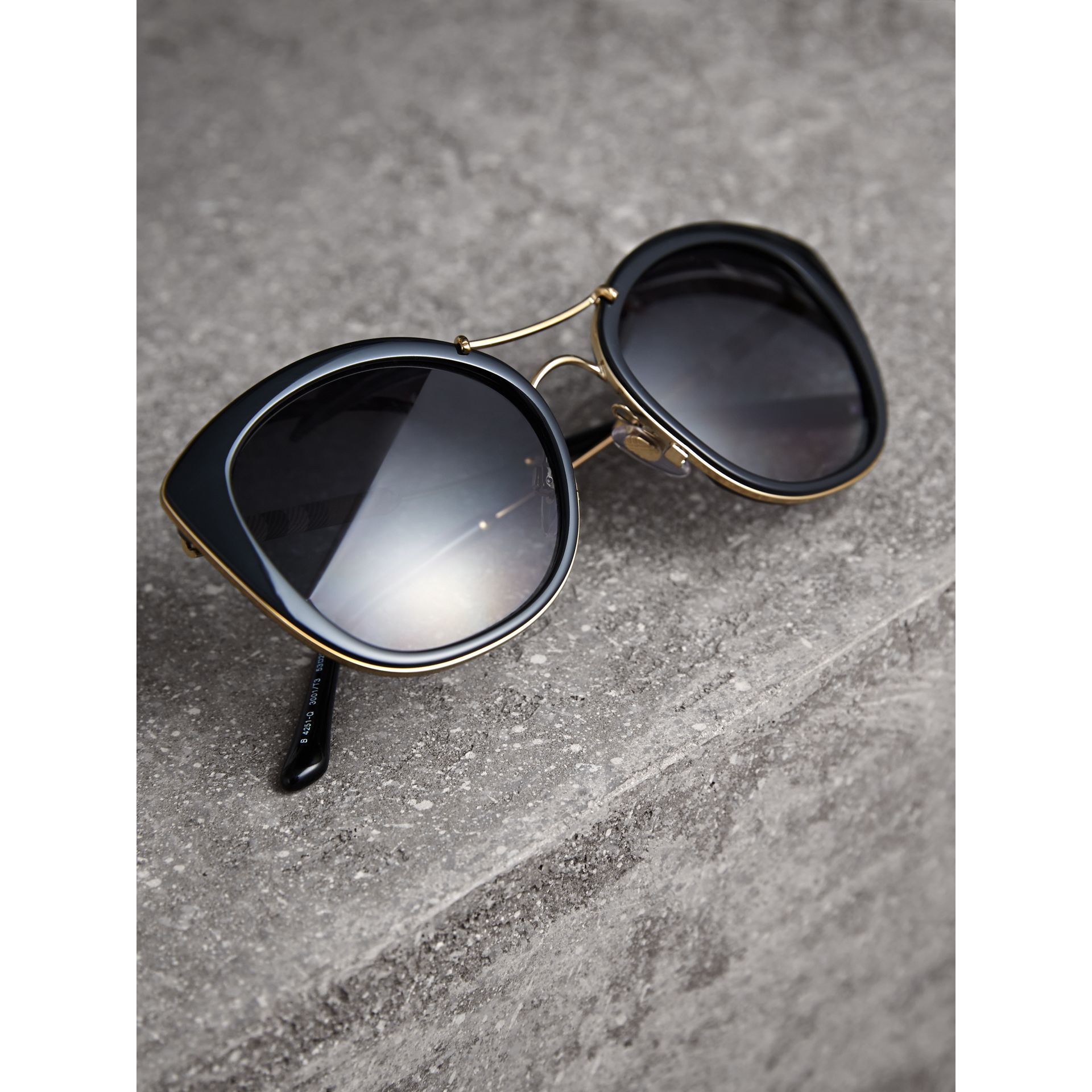 Check Detail Round Frame Sunglasses in Black - Women | Burberry - gallery image 2