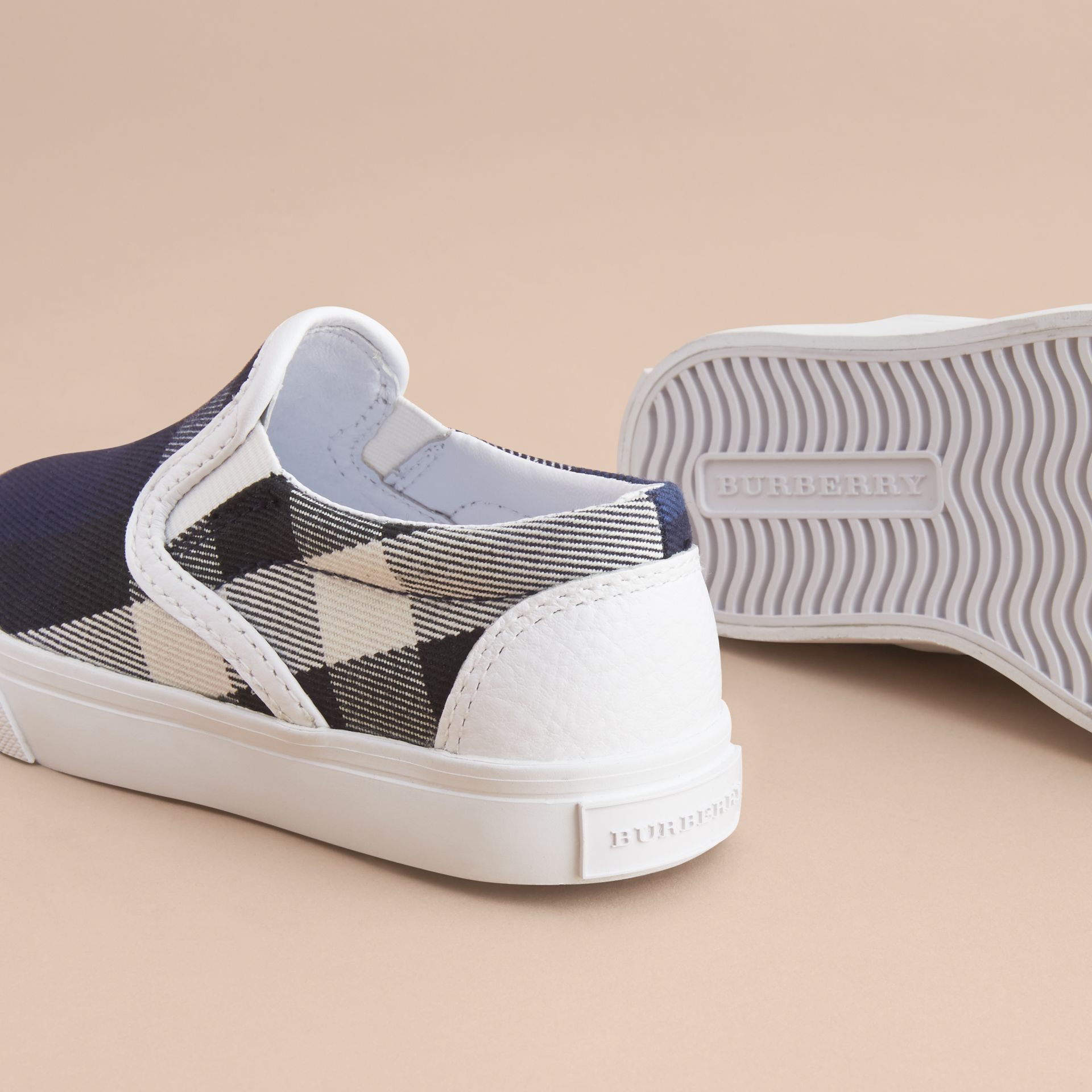 Tonal House Check and Leather Slip-on Trainers in Bright Sapphire - Children | Burberry - gallery image 4