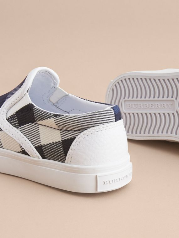 Tonal House Check and Leather Slip-on Trainers in Bright Sapphire - Children | Burberry - cell image 3