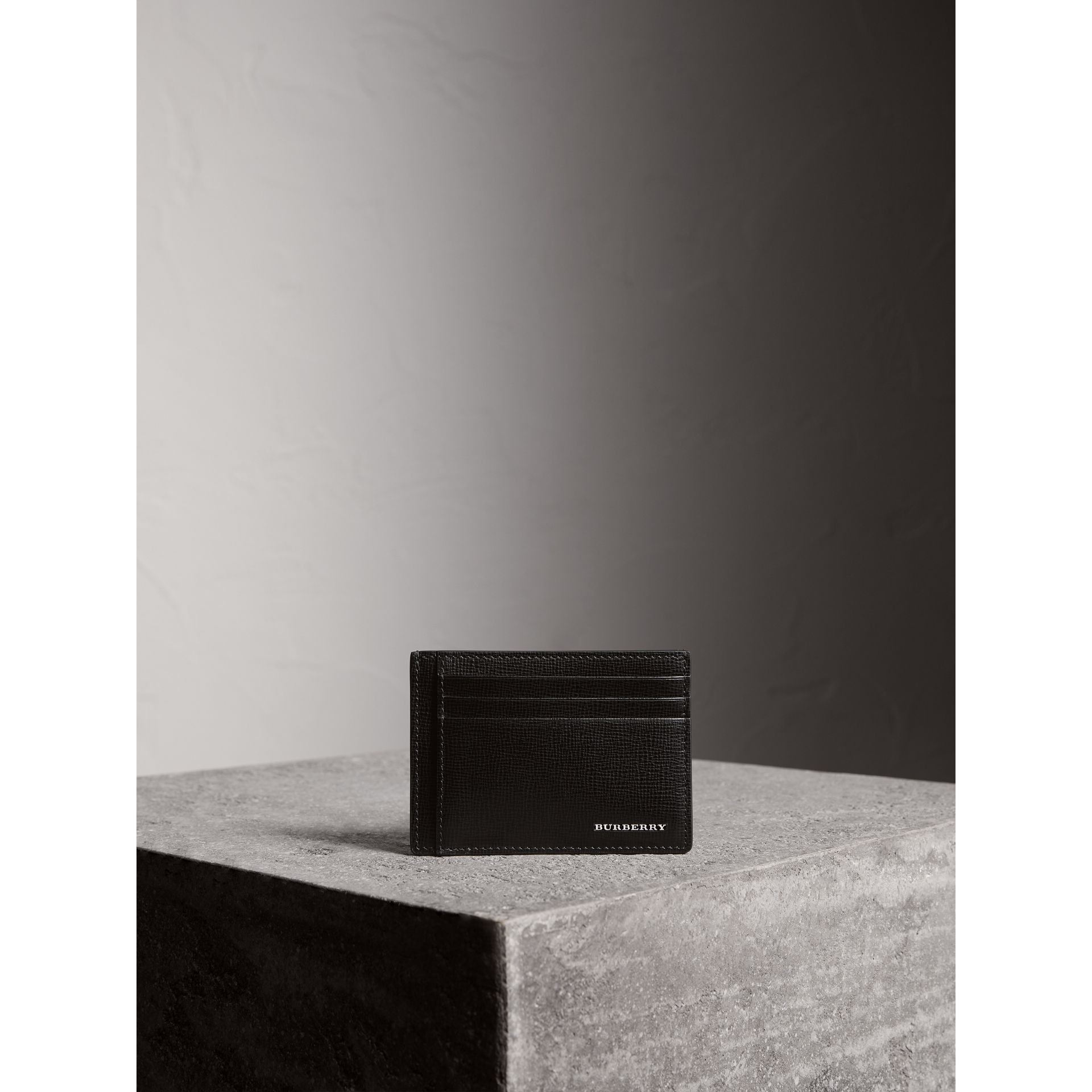 London Leather Money Clip Card Case in Black - Men | Burberry - gallery image 4