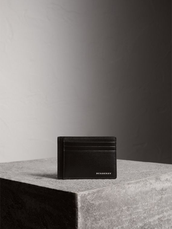London Leather Money Clip Card Case in Black - Men | Burberry - cell image 3