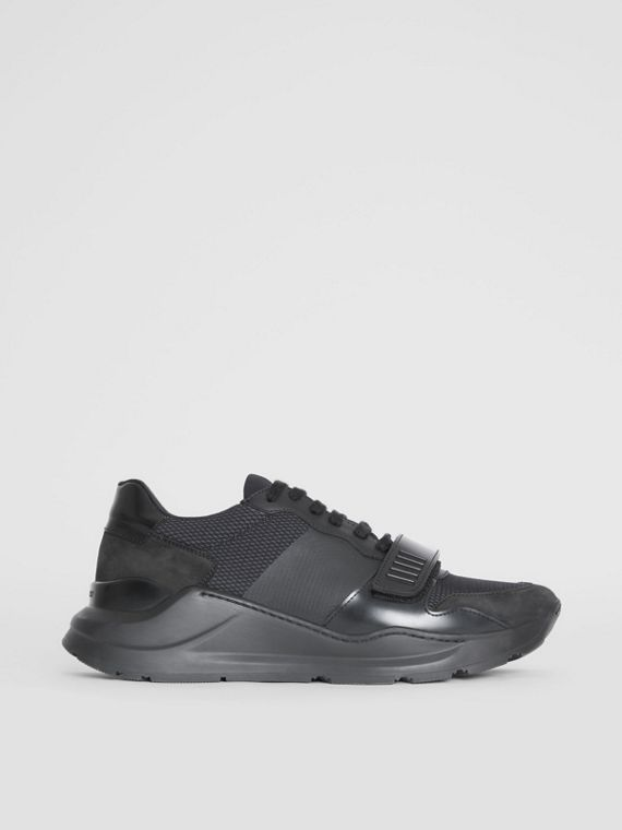 Mesh Detail Suede and Neoprene Sneakers in Black