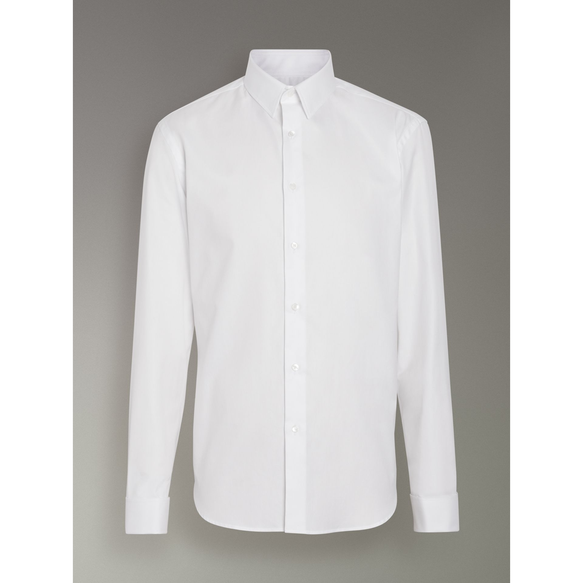 Modern Fit Double Cuff Cotton Shirt in White - Men | Burberry United Kingdom - gallery image 3