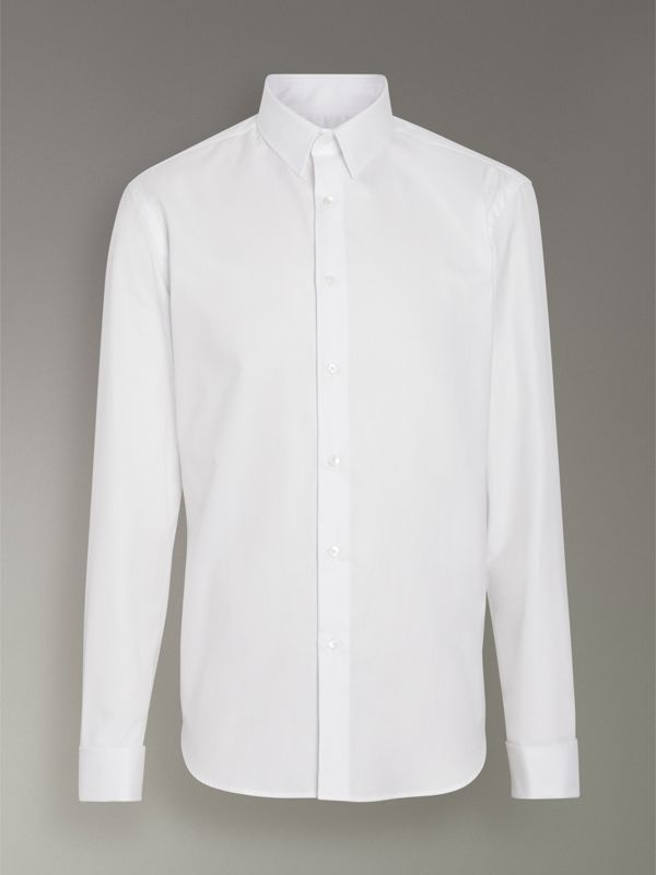 Modern Fit Double Cuff Cotton Shirt in White - Men | Burberry United Kingdom - cell image 3