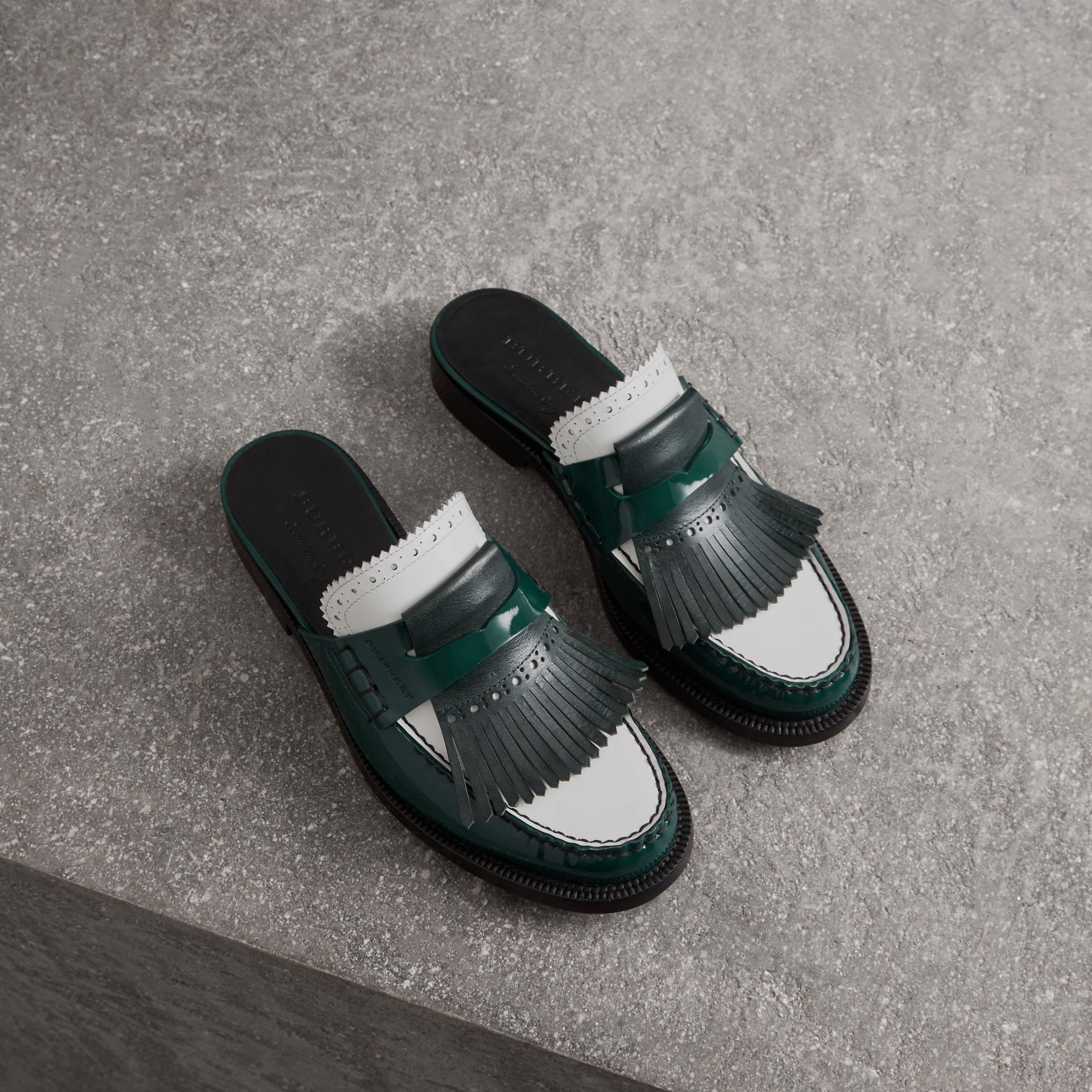 Tri-tone Kiltie Fringe Leather Mules in Dark Forest Green - Women | Burberry United Kingdom - gallery image 0