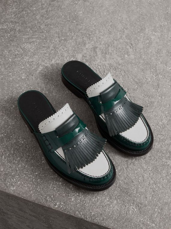 Tri-tone Kiltie Fringe Leather Mules in Dark Forest Green