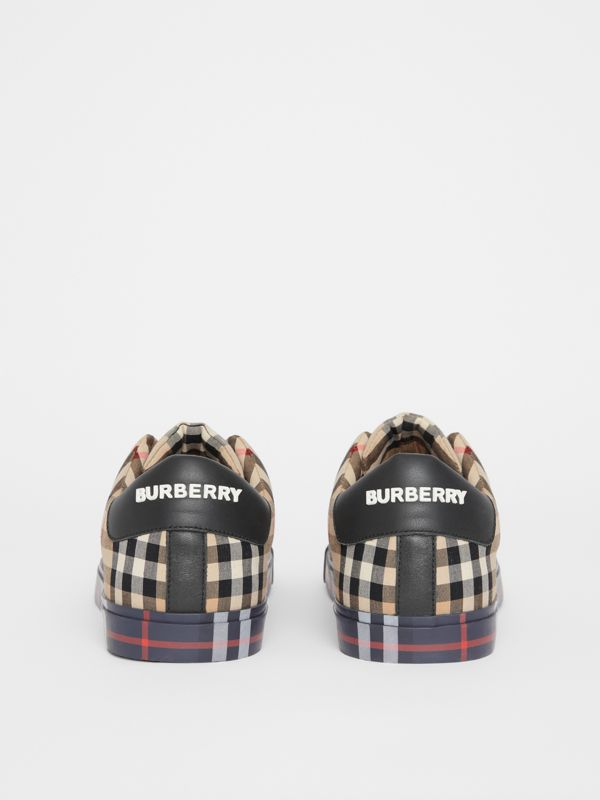 Contrast Check and Leather Slip-on Sneakers in Archive Beige - Men | Burberry Australia - cell image 3