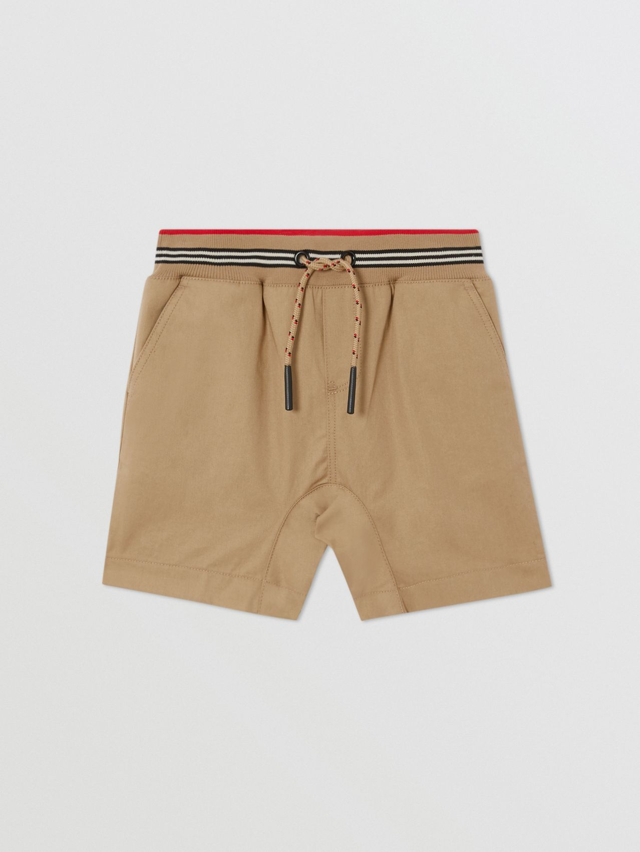 Icon Stripe Detail Cotton Twill Shorts in Honey