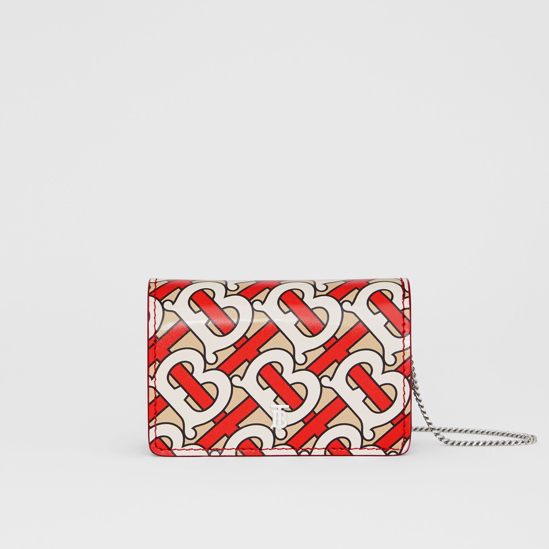 Monogram Print Card Case with Detachable Strap in Vermilion - Women | Burberry - gallery image 0
