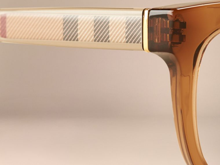 Taupe brown Check Detail Oval Optical Frames Taupe Brown - cell image 4