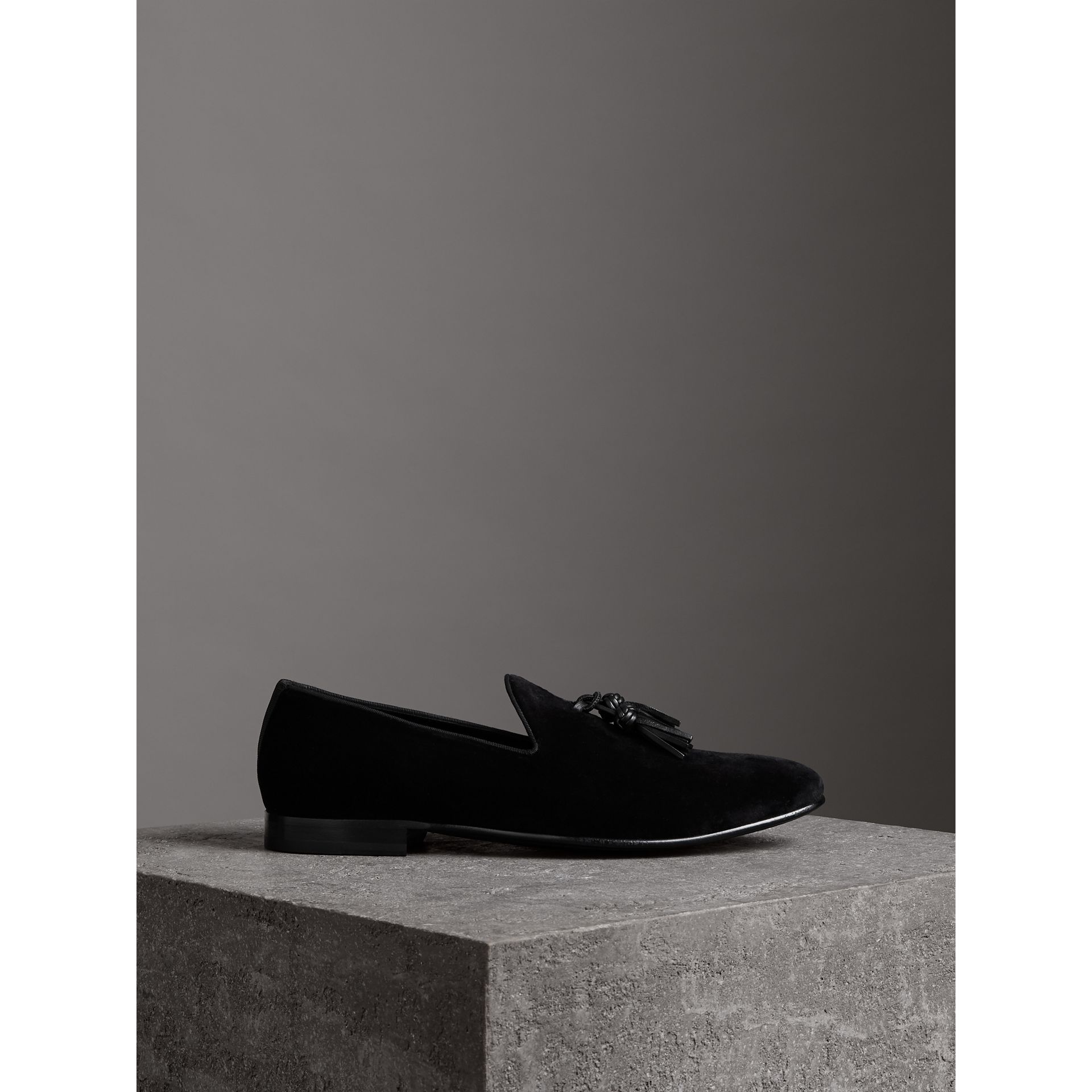 Tassel Detail Velvet Loafers in Black - Men | Burberry United Kingdom - gallery image 4