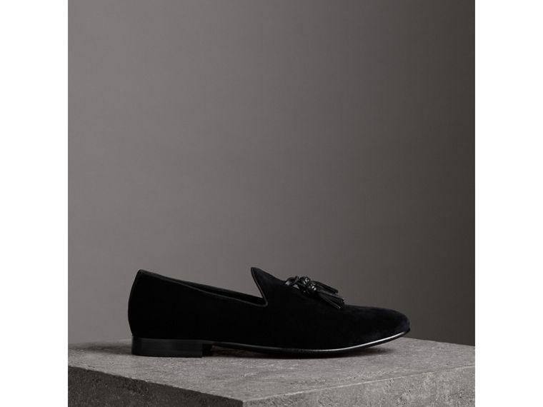 Tassel Detail Velvet Loafers in Black - Men | Burberry - cell image 4