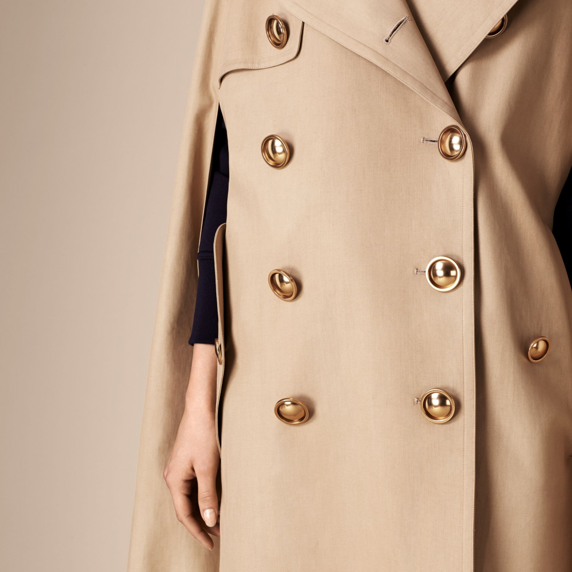 Honey Raccoon Collar Cotton Trench Cape - gallery image 6