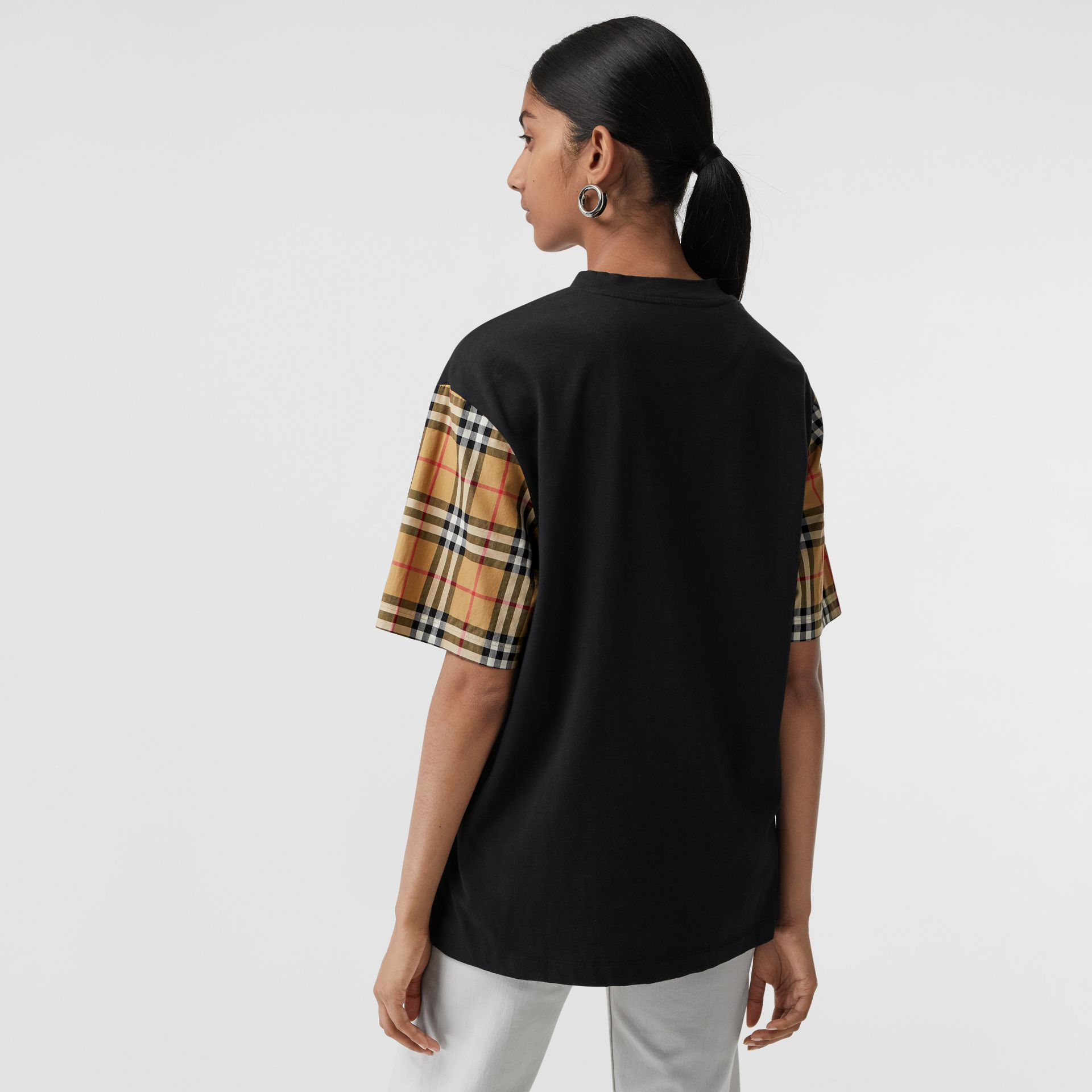 Vintage Check-sleeve Cotton Oversized T-shirt in Black - Women | Burberry Canada - gallery image 2